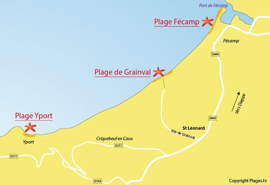 Plan des plages à proximité de St Léonard 76