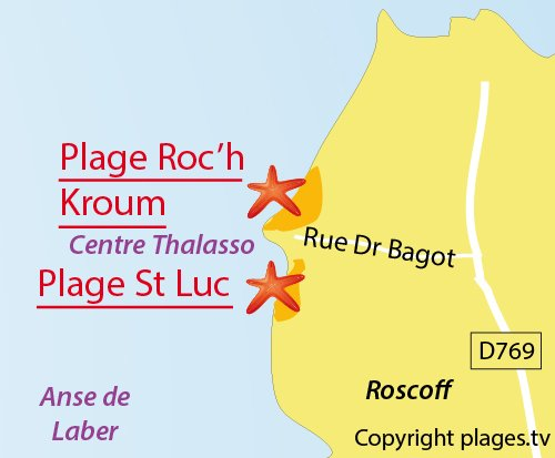 Map of Saint-Luc Beach in Roscoff