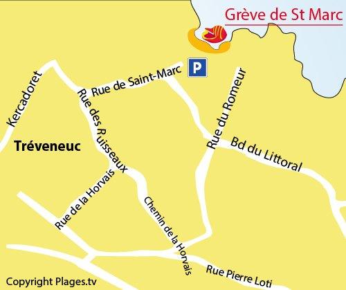 Carte de la plage de St Marc à Tréveneuc