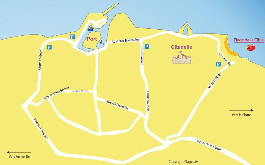 Carte de la plage de St Martin de Ré sur l'Ile de Ré