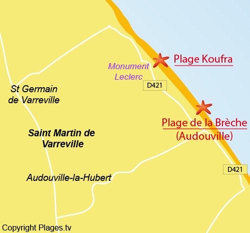 Carte de la plage de Saint Martin de Varreville en Normandie