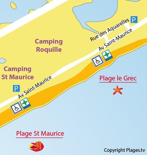 Mappa della Spiaggia St Maurice a Palavas les Flots