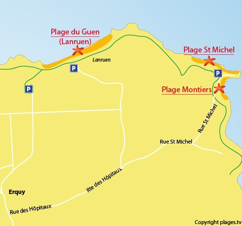 Map of Saint Michel Beach in Erquy