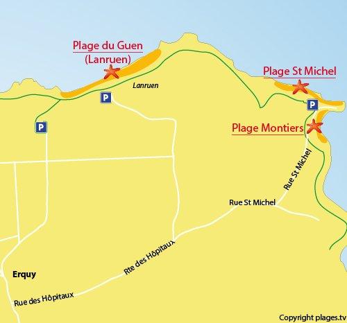 Mappa della Spiaggia di Saint Michel a Erquy