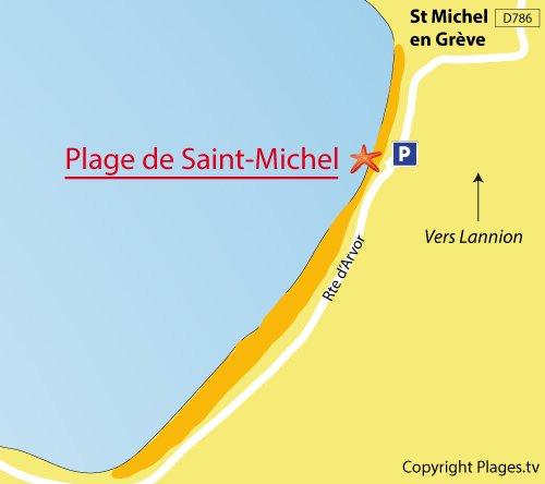 Plan de la plage de St Michel en Grève (Côtes d'Armor)
