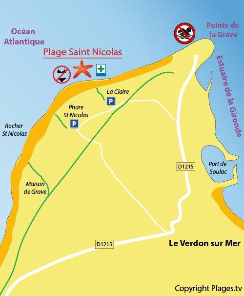 Carte de la plage de St Nicolas au Verdon sur Mer