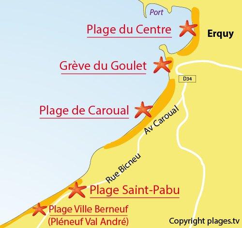 Map of Saint Pabu beach in Erquy