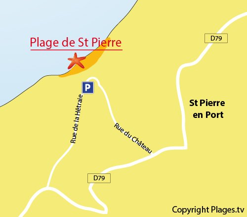 Map of St Pierre en Port Beach