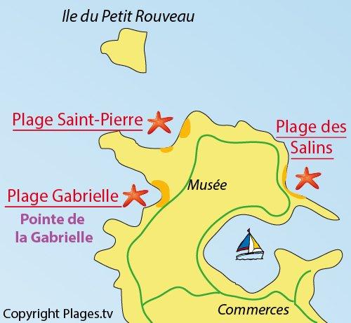 Plan de la plage St Pierre sur l'ile des Embiez