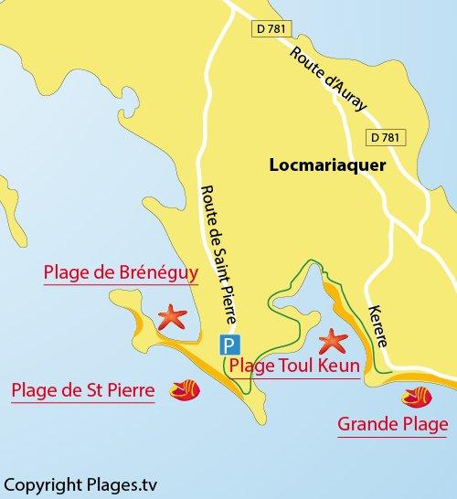 Carte de la plage de Saint Pierre à Locmariaquer