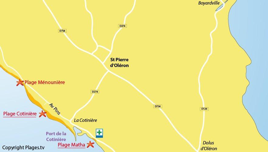 Plan des plages de St Pierre d'Oléron