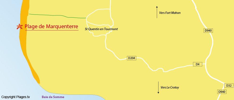 Carte de la plage de Saint Quentin en Tourmont (Somme)