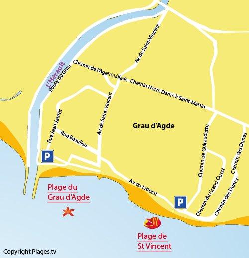 Plan de la plage de St Vincent au Grau d'Agde