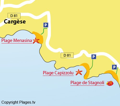 Map of Stagnoli Beach in Cargèse