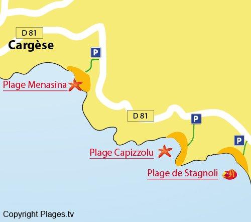 Map of Stagnoli Beach in Cargèse