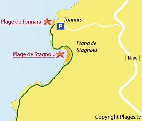 Carte de la plage de Stagnolu à Bonifacio