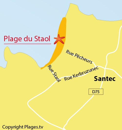 Map of Staol Beach in Santec