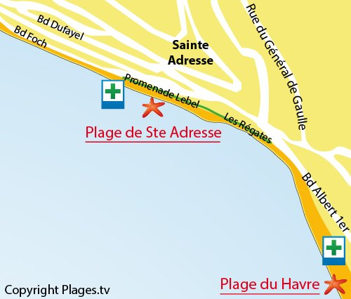 Map of Sainte Adresse Beach