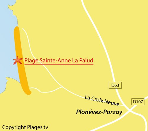 Carte de la plage de Sainte Anne à Plonévez-Porzay