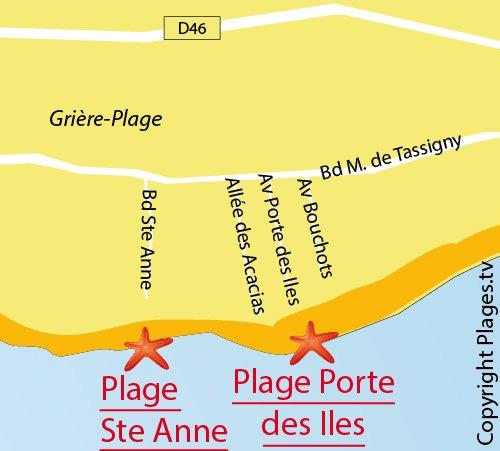 Carte de la plage de Sainte Anne à La Tranche sur Mer