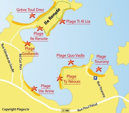 Plan de la plage de Sainte Anne à Trégastel