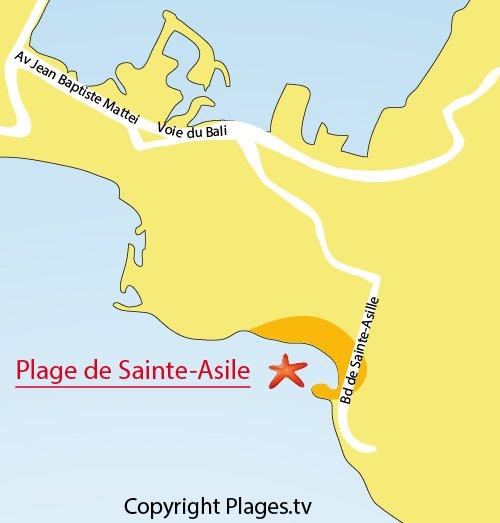 Carte de la plage de Sainte Asile à Saint Mandrier