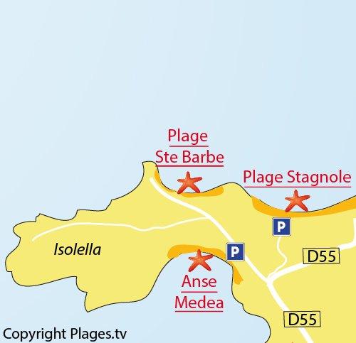 Map of Sainte Barbe Beach in Isolella (Ajaccio Gulf)