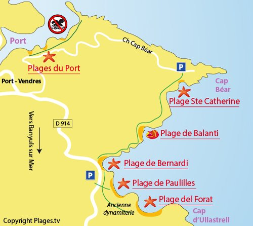 Plan de la plage de Ste Catherine à Port Vendres