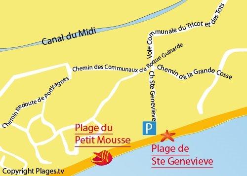 Plan de la plage de Sainte Genevieve à Vias-Plage