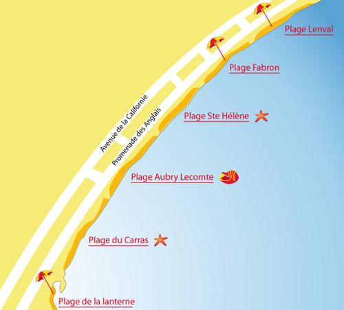 Carte de la plage Ste Hélène à Nice