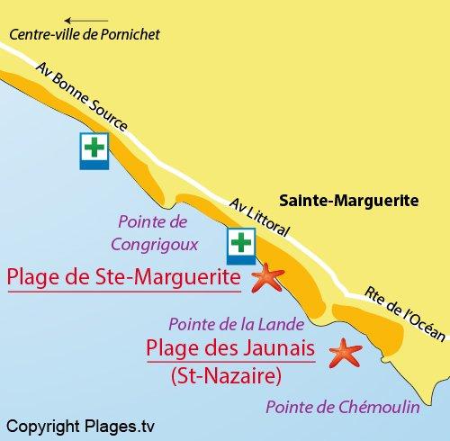Carte de la plage de Ste Marguerite à Pornichet