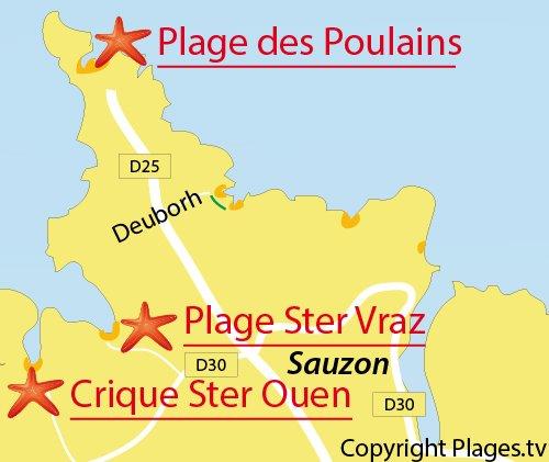 Carte de la plage de Ster Ouen à Belle Ile