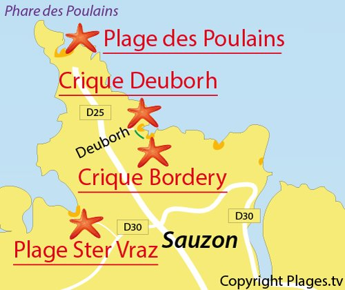 Map of Ster Vraz Beach in Belle Ile - Sauzon