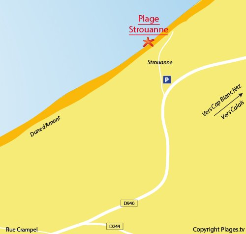 Map of the Strouanne Beach in Wissant