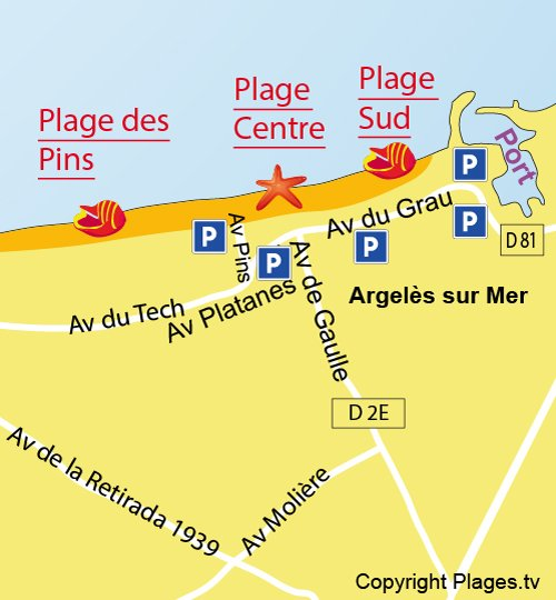 Map of South Beach in Argelès in France
