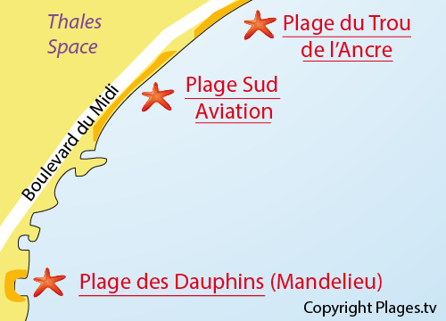 Carte de la plage sud aviation à Cannes la Bocca
