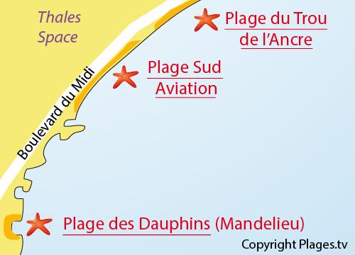 Map of Sud Aviation Beach in Cannes la Bocca