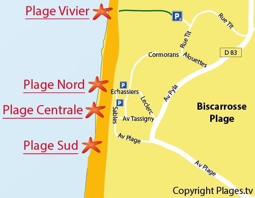 Map of South Beach in Biscarrosse Ocean