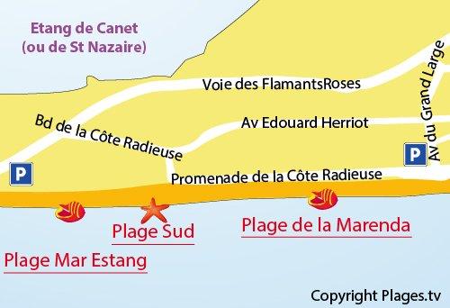 Mappa della Spiaggia Sud a Canet-Plage