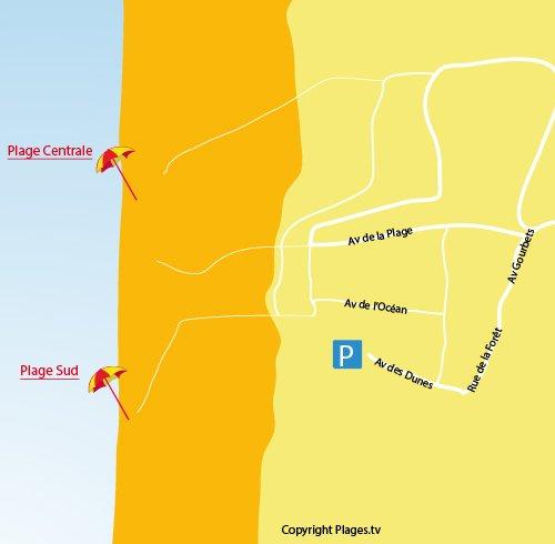 Plan de la plage sud de Carcans-Océan