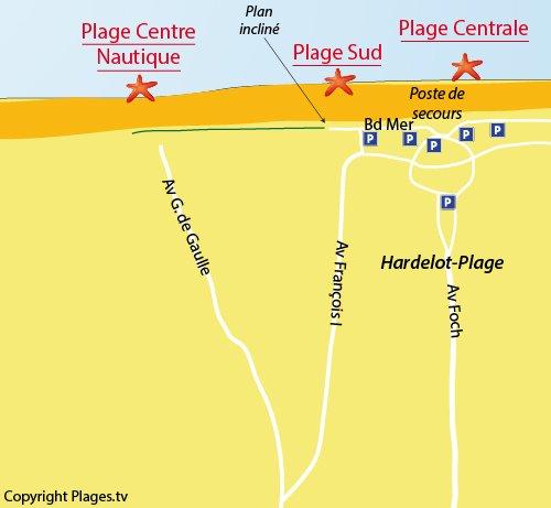 Carte de la plage Sud d'Hardelot