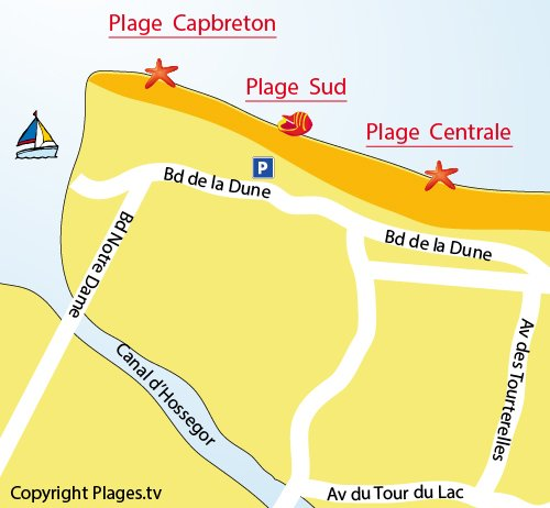 Carte de la plage Sud d'Hossegor dans les Landes
