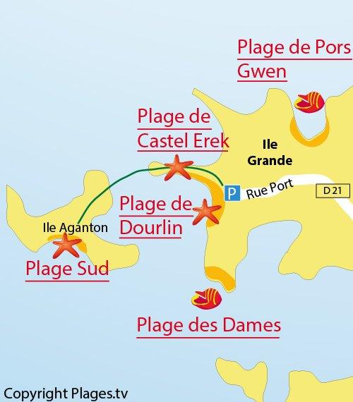 Carte de la plage sud de l'ile d'Aganton