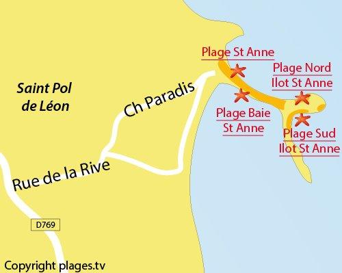 Carte de la plage sud sur l'ilot de Sainte Anne - St Pol de Léon
