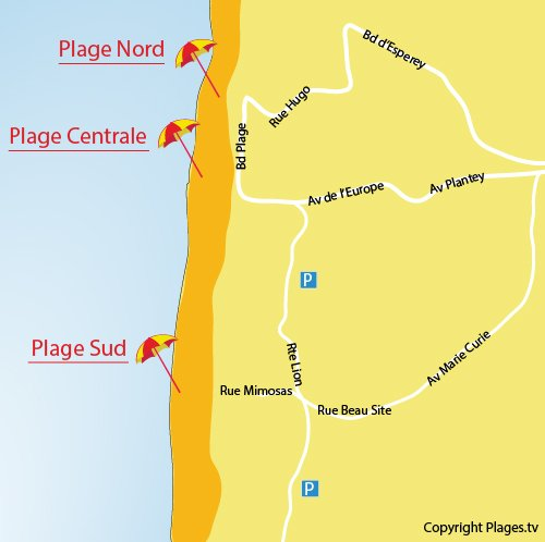 Map of Sud beach in Lacanau-Océan