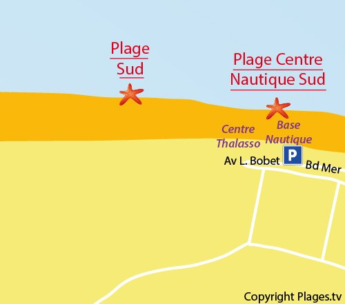 Map of South Beach in Le Touquet