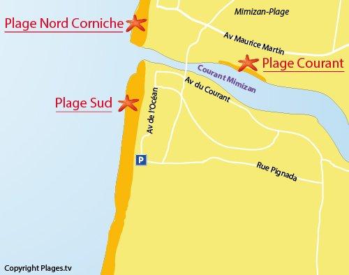 Carte de la plage Sud de Mimizan
