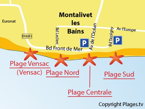 Map of South Beach in Montalivet