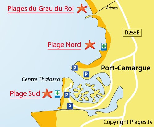 Map of the South Beach in Port Camargue