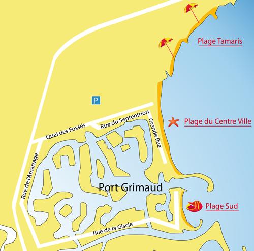 Mappa della spiaggia sud di Port-Grimaud